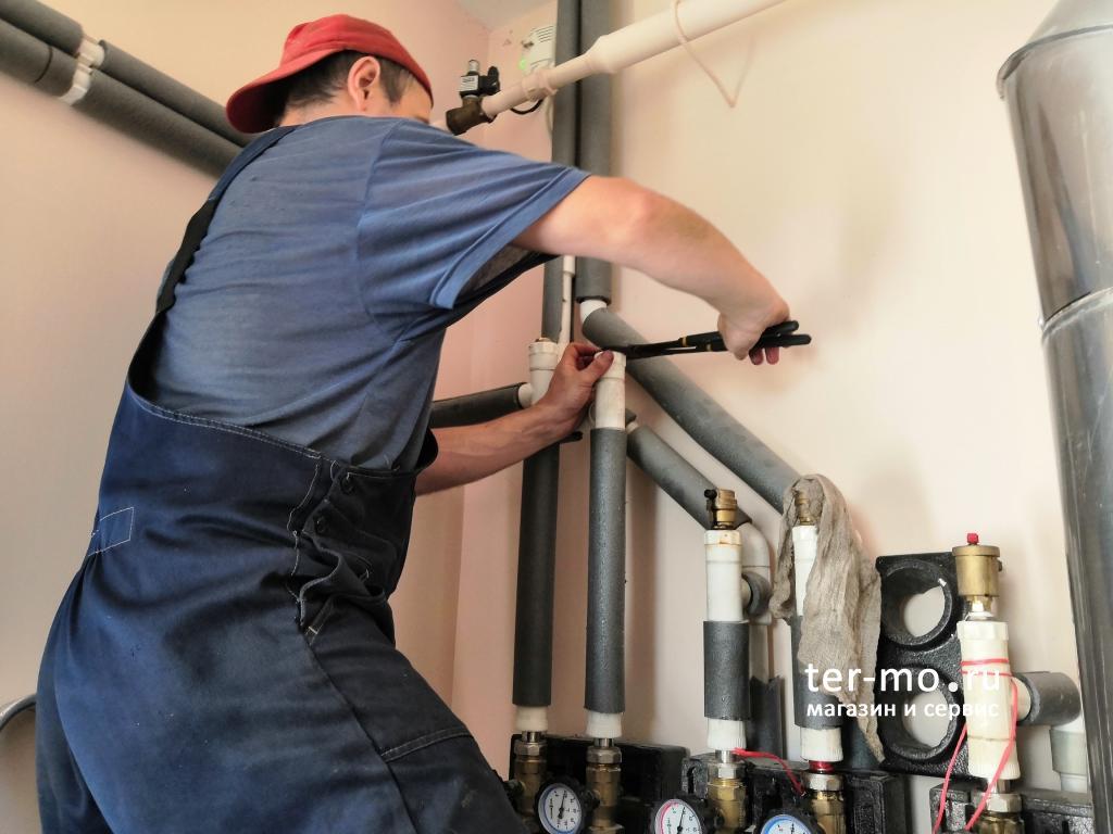 Промывка системы отопления дома, бани и промывка котла Viessmann Vitogas100
